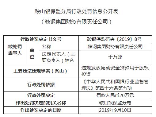 鞍钢财务公司违法遭罚 发流动资金贷款用于股权投资