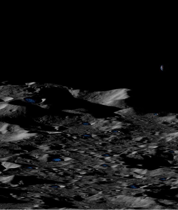 月球南极冰层概念图 图源:NASA