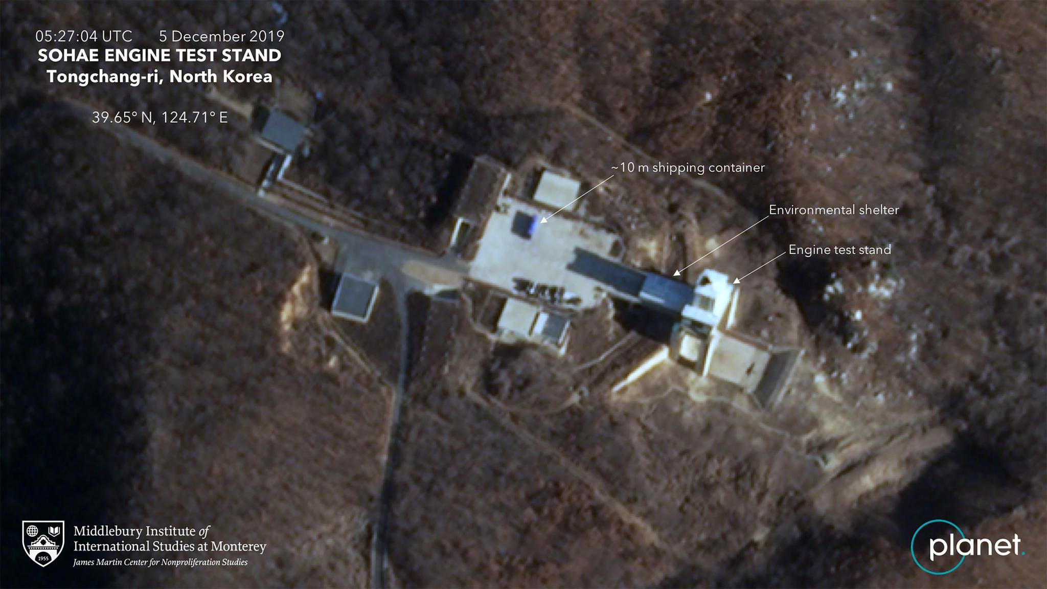 Planet卫星12月5日拍摄的朝鲜西海卫星发射场的发动机测试厂房(Planet 图)