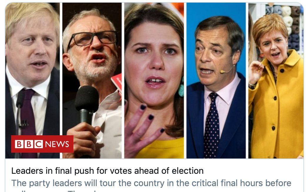 12日即将大选 英国各党领袖11日