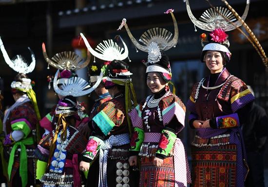"""贵州丹寨苗族群众欢度""""祭尤节"""""""
