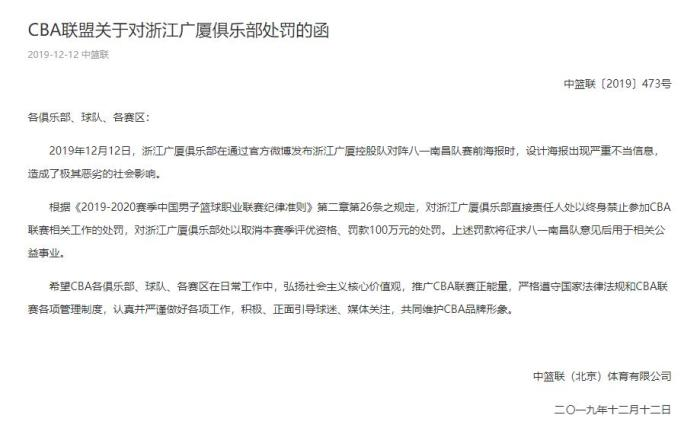 CBA史上最贵罚单 浙江广厦男篮被重罚100万元