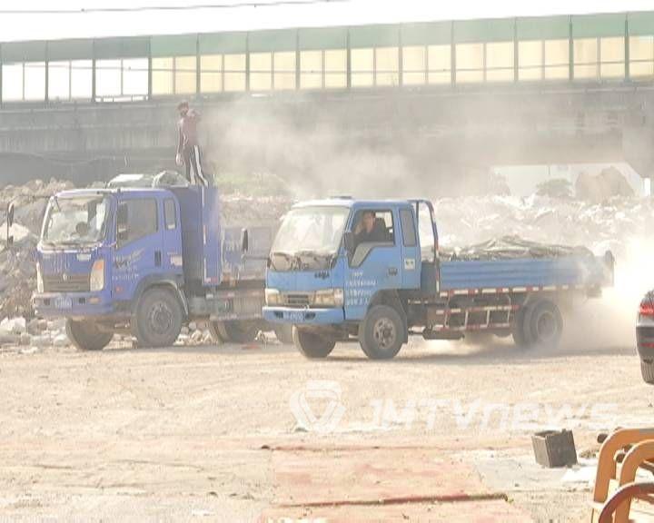 江海区一建筑垃圾中转站尘土扰民依旧 新承租方将改作他用