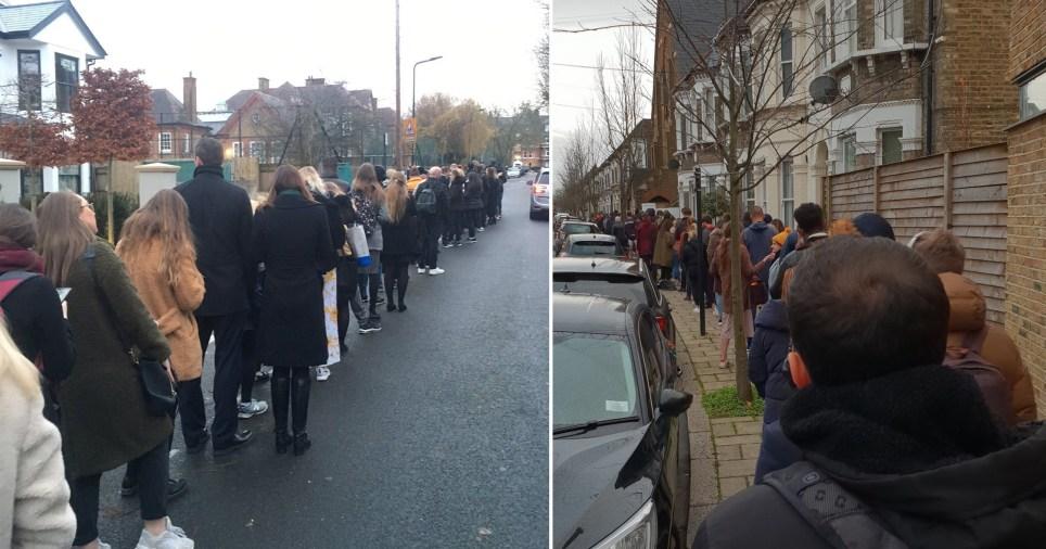 英国大选投票进行时:民众排起长队 一眼望不到头