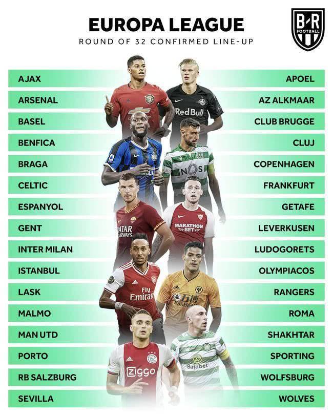 欧联杯32强出炉:曼联阿森纳领衔 英超西甲全员晋级