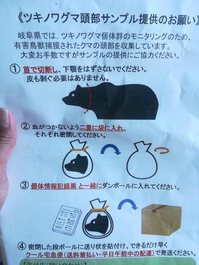 """歧阜县的""""黑熊悬赏令""""(Twitter)"""