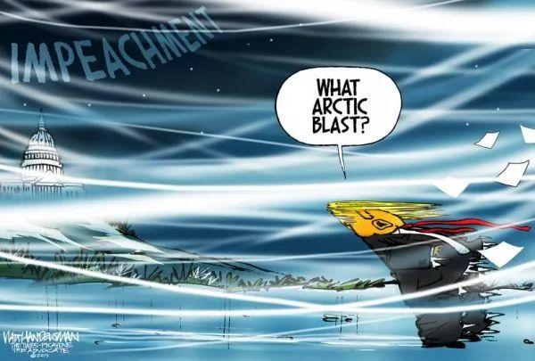 ▲[弹劾风暴]弹劾特朗普紧闭的大门正在打开,特朗普不得不出席众议院公开听证会并对乌克兰丑闻作出解释。弹劾调查如极地风暴,让特朗普难以抵挡。(美国《一周》周刊网站)