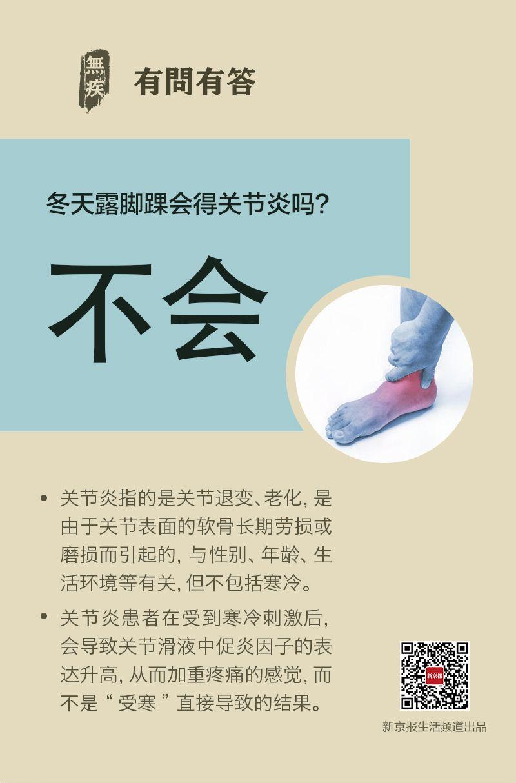 关节炎原因多 露脚踝不相关丨每日健康问答图片