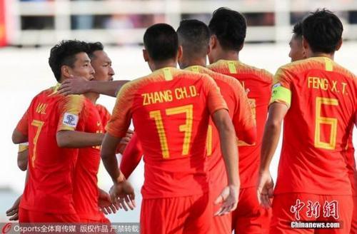 资料图为中国男足在亚洲杯比赛中。图片来源:Osports全体育图片社