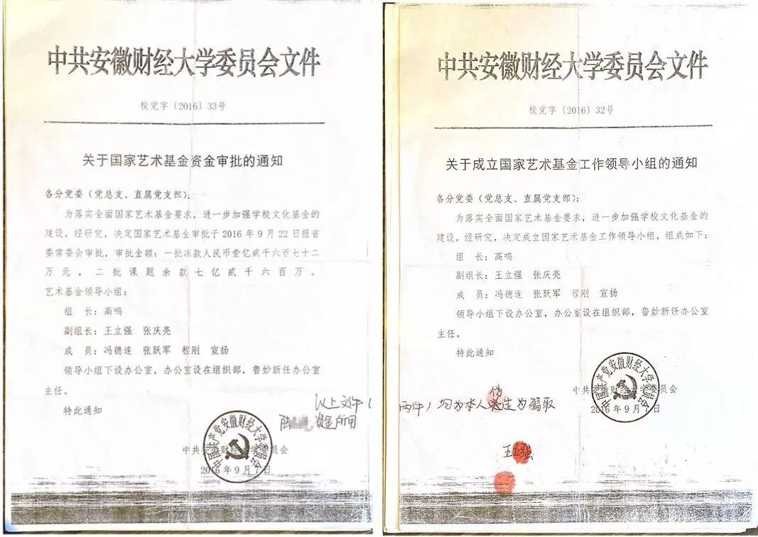 """▲王立强编造的""""中共安徽财经大学文件"""""""