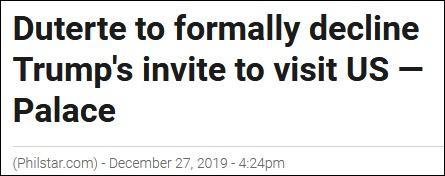 """菲总统将正式拒绝访美邀请 称""""从未打算去美国"""""""