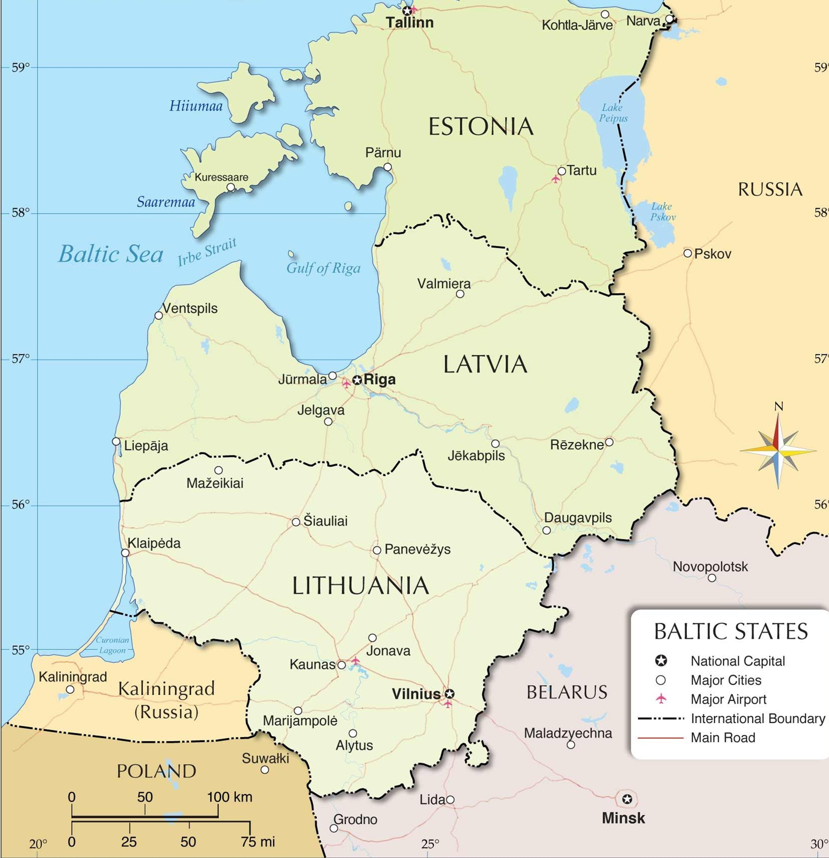 波罗的海三国:爱沙尼亚、拉脱维亚和立陶宛 图自地图网站