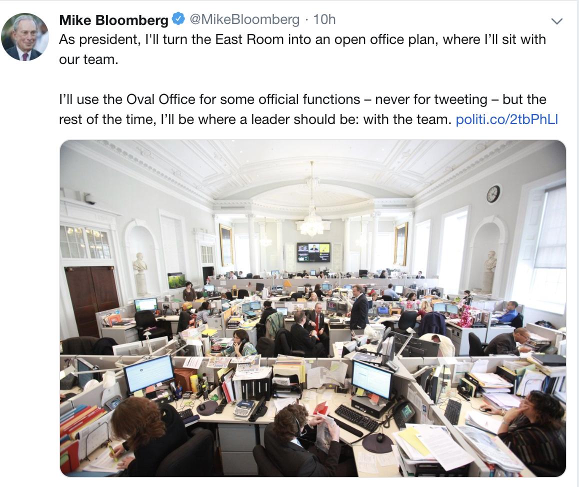 布隆伯格:若当选总统,将改造白宫东厅为开放式办公室