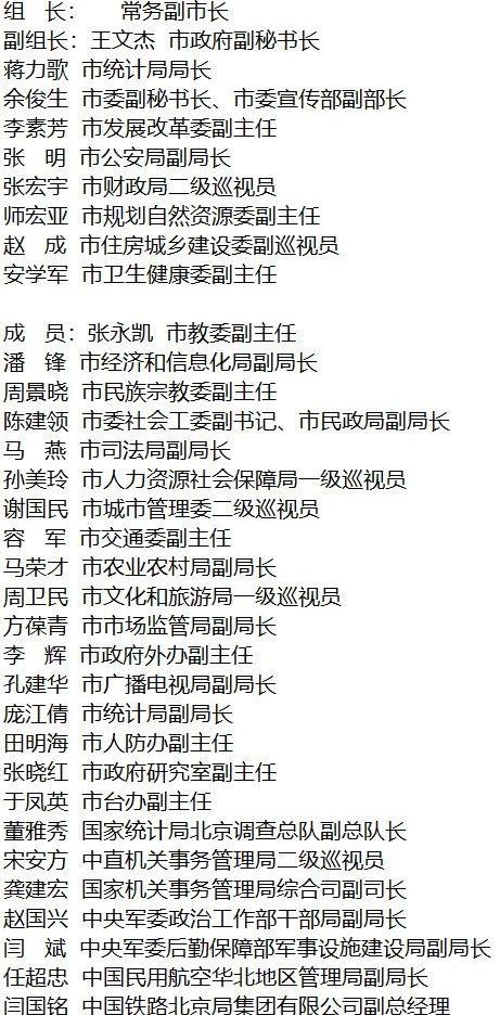 北京成立领导小组 启动该市第七次全国人口普查工作