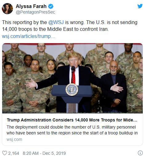 """特朗普考虑向中东增兵1.4万""""对抗""""伊朗?美国防部:假新闻"""