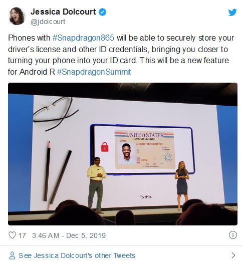 骁龙865+Android R组合将让2020年新手机化身用户移动驾照