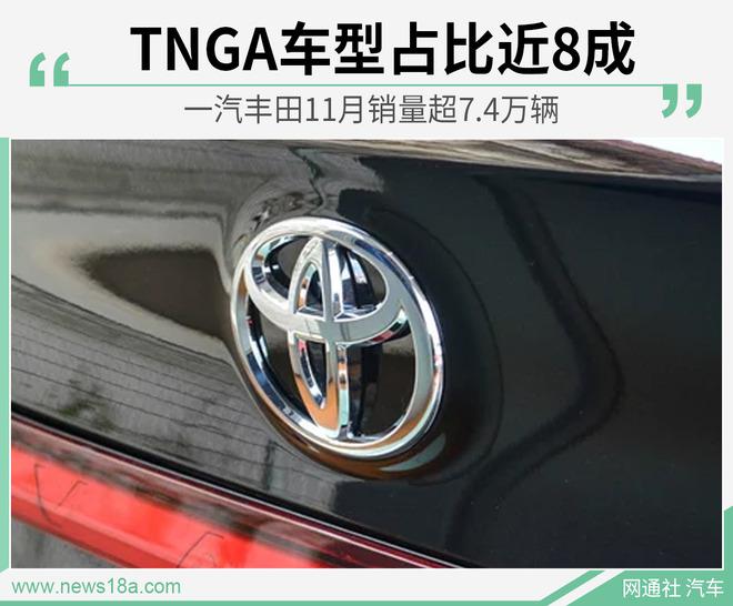 TNGA车型占比近8成 一汽丰田11月销量超7.4万辆