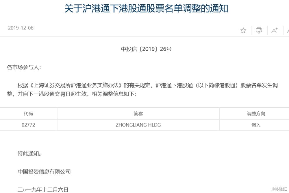 中梁控股(2772.HK)获调入沪港通下港股通