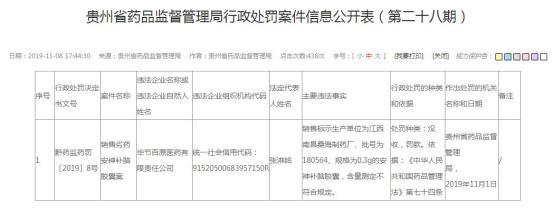 江中药业子公司贵州违法销售劣药