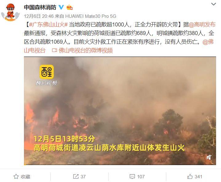 令人揪心!佛山山火得到控制原来是这样 千人持续奋战近30小时