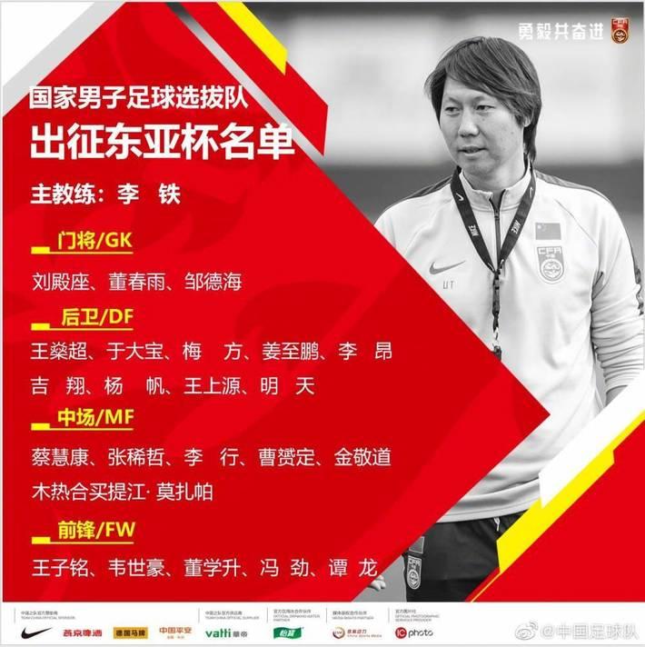 国足东亚杯大名单:韦世豪、曹赟定领衔