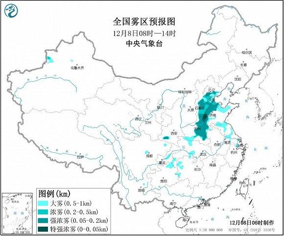 中央气象台发布大雾黄色预警,京津冀多地有大雾