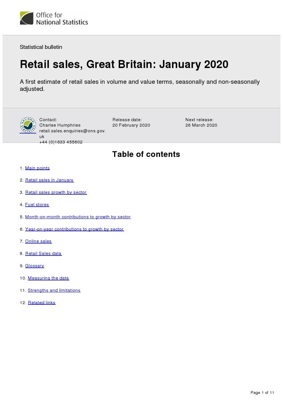 英国国家统计局:2020年首个零售报告