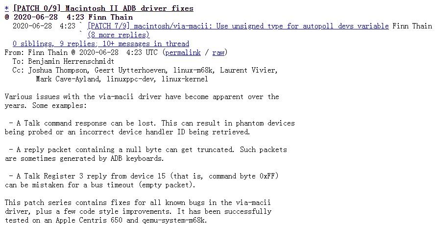 意外!2020 年的 Linux 内核仍为苹果 Macintosh II 修复驱动