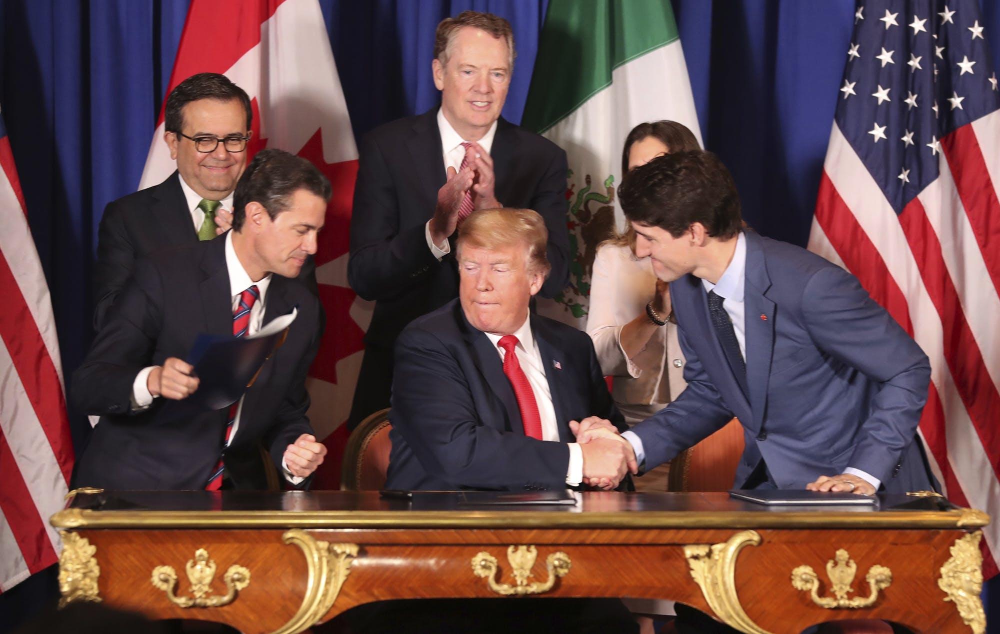 △2018年11月30日,美国、加拿大和墨西哥三国首脑签署《美墨加协议》