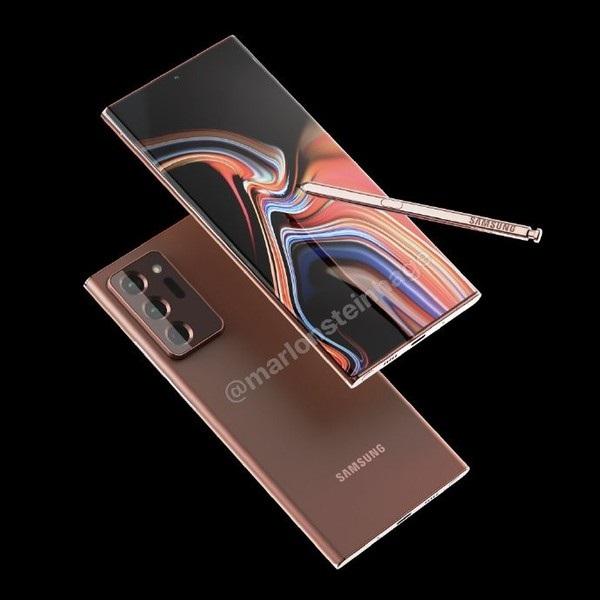 三星 Galaxy Note20 Ultra 古铜色正面渲染图曝光