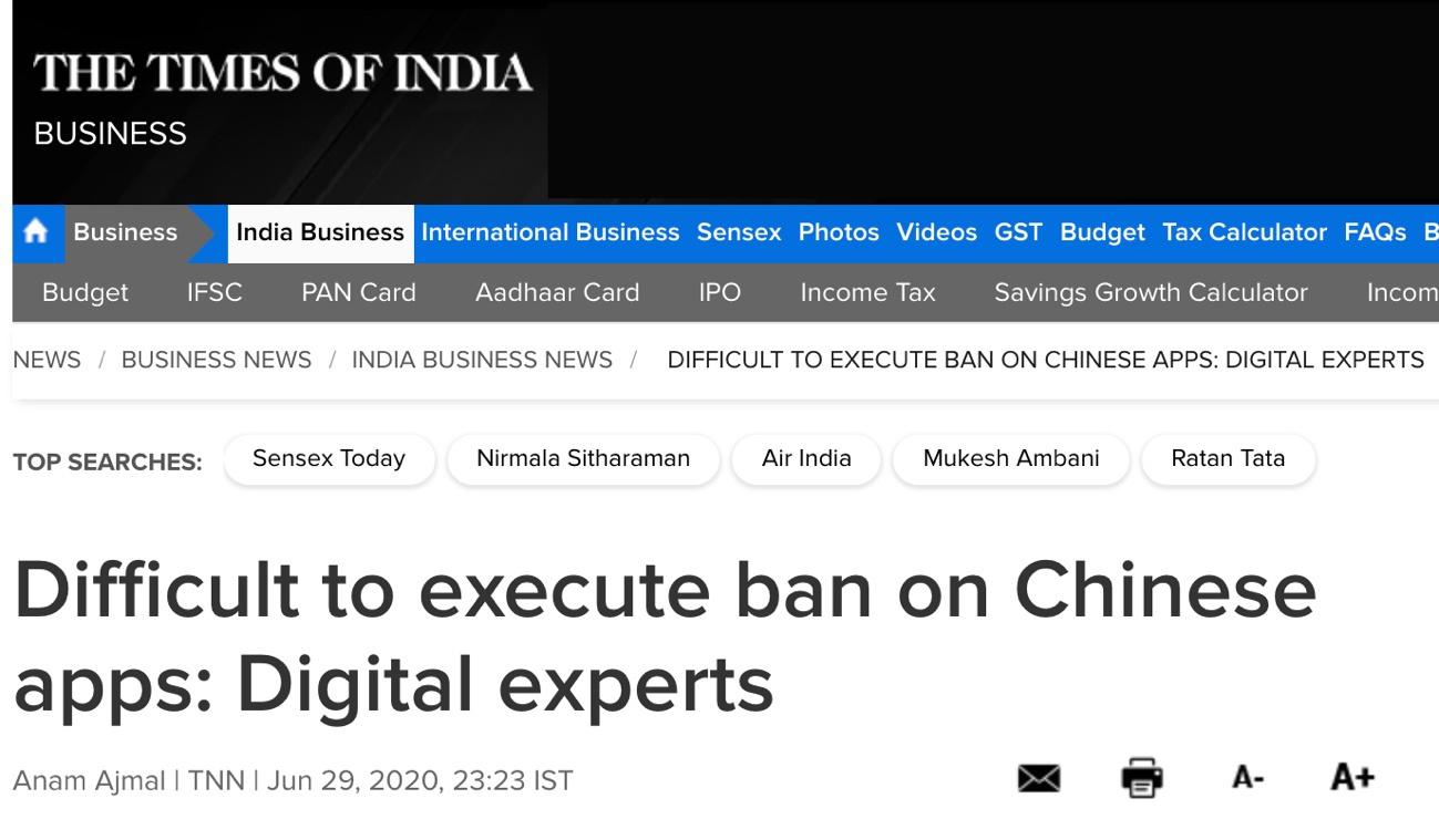 △《印度时报》:数字技术专家表示,很难对中国应用执行禁令