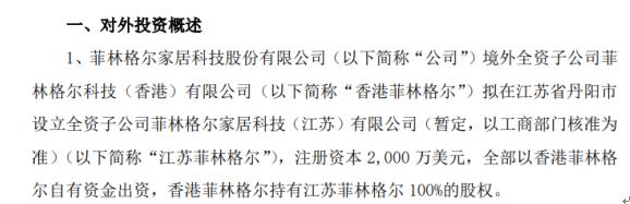菲林格尔境外全资子公司对外投资设立全资子公司 注册资本2000万美元