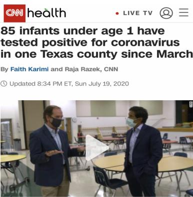 △CNN报道称,得克萨斯州努埃塞斯县85名婴儿感染新冠病毒
