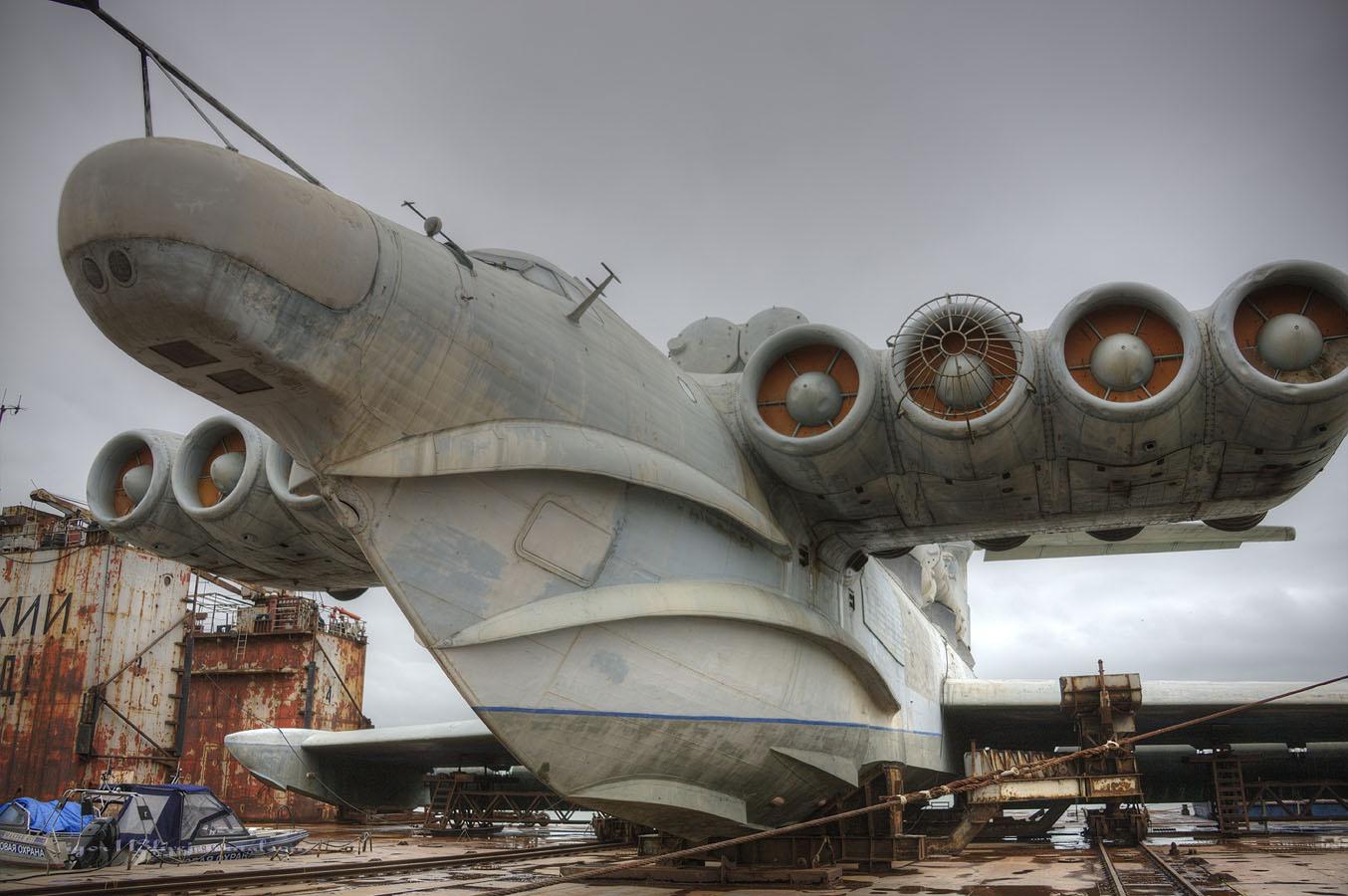 """满满的蒸汽朋克风:近看俄""""里海怪物""""地效飞行器"""
