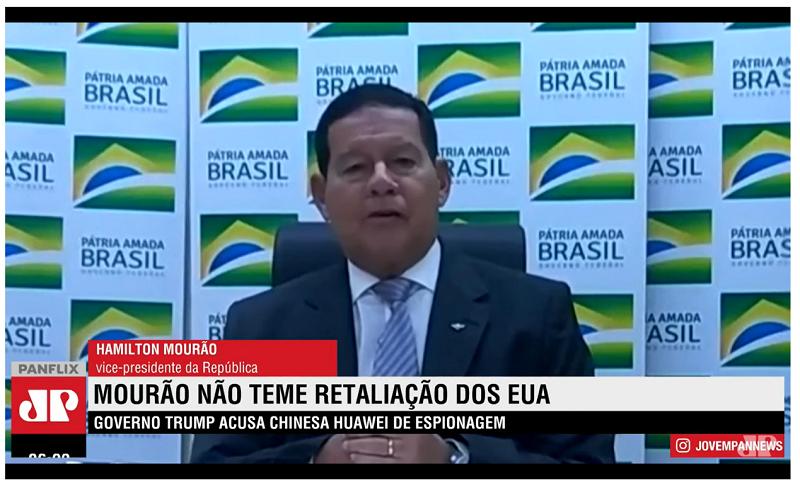 △巴西副总统莫朗与记者举办的视频集会画面(泉源:巴西媒体Jovempan)