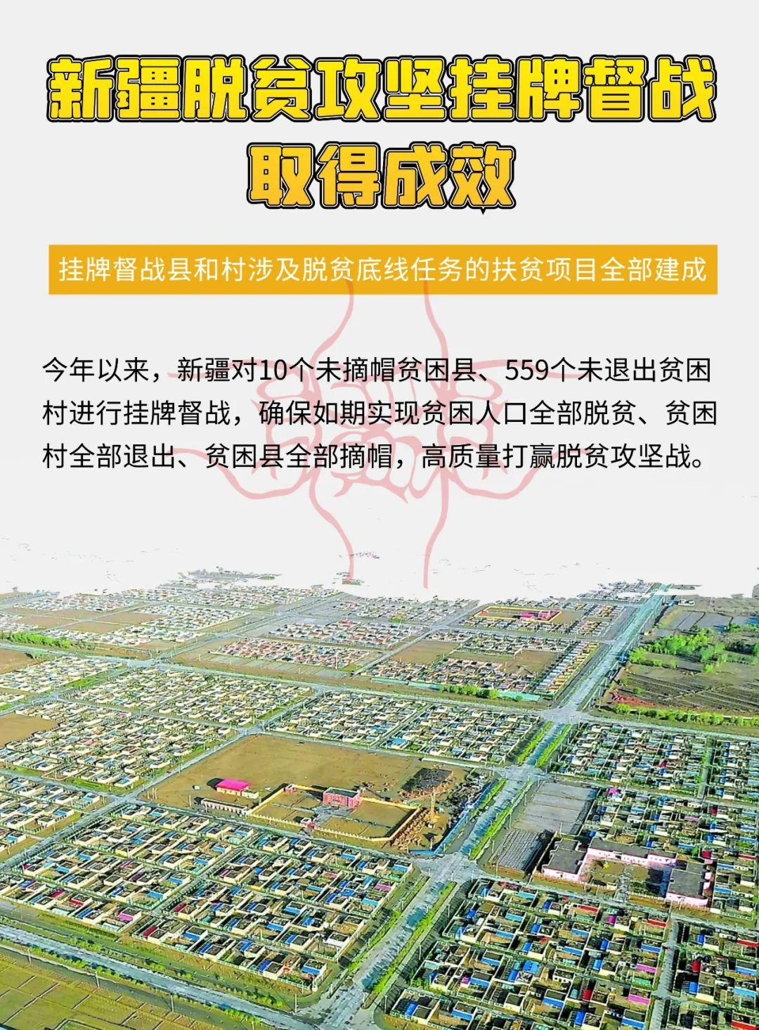 新疆挂牌督战县和村涉及脱贫底线任务的扶贫项目全部建成