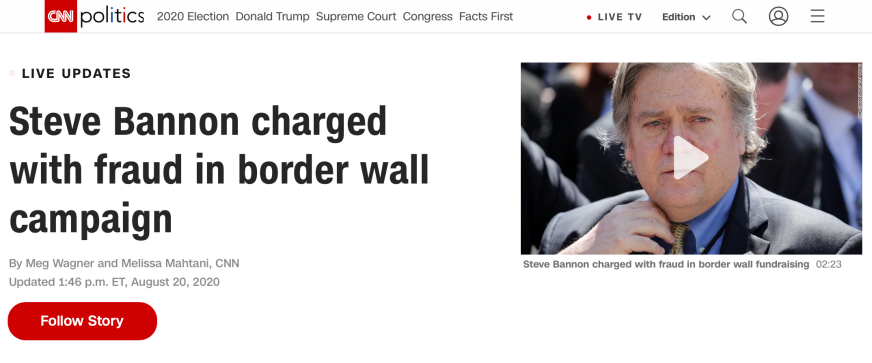 "△CNN报道称,史蒂夫·班农因""建墙""项目而被指控欺诈"