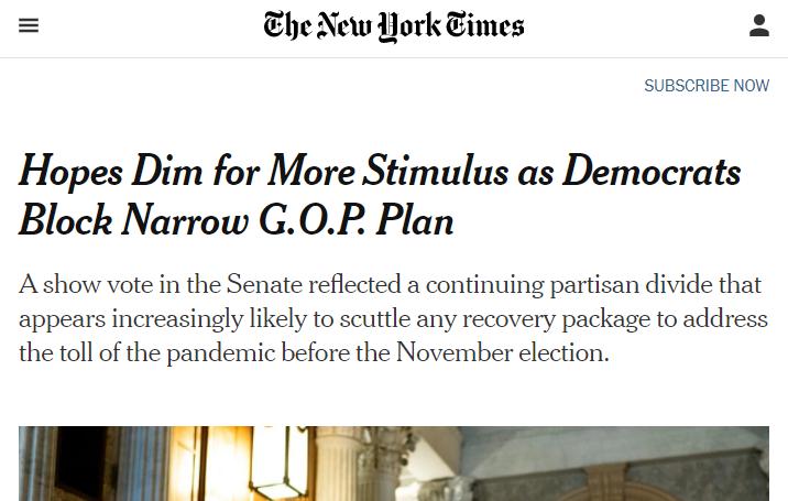 纾困法案又谈崩了!美国经济再遭打击