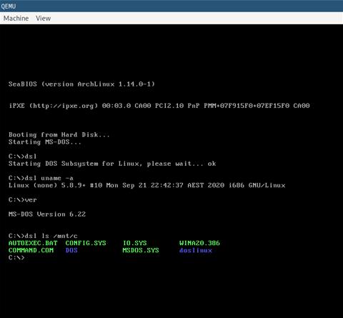 开发人员为Linux制作DOS子系统(DSL)