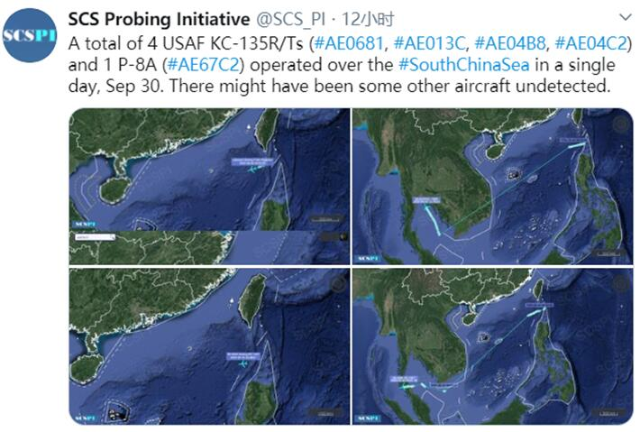 美军在南海动作频繁被曝一天内向南海派出5架飞机图片