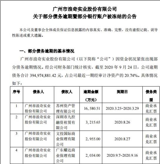 广州浪奇再爆雷:继存货消失后 6700多万存款被冻结