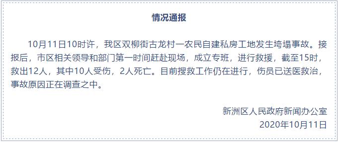 武汉一农民自建私房工地垮塌 已救出12人其中2死10伤图片