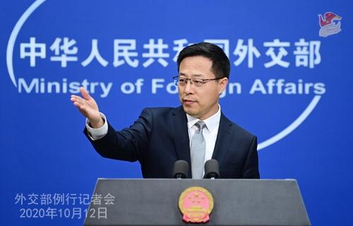 2020年10月12日外交部发言人赵立坚主持例行记者会图片