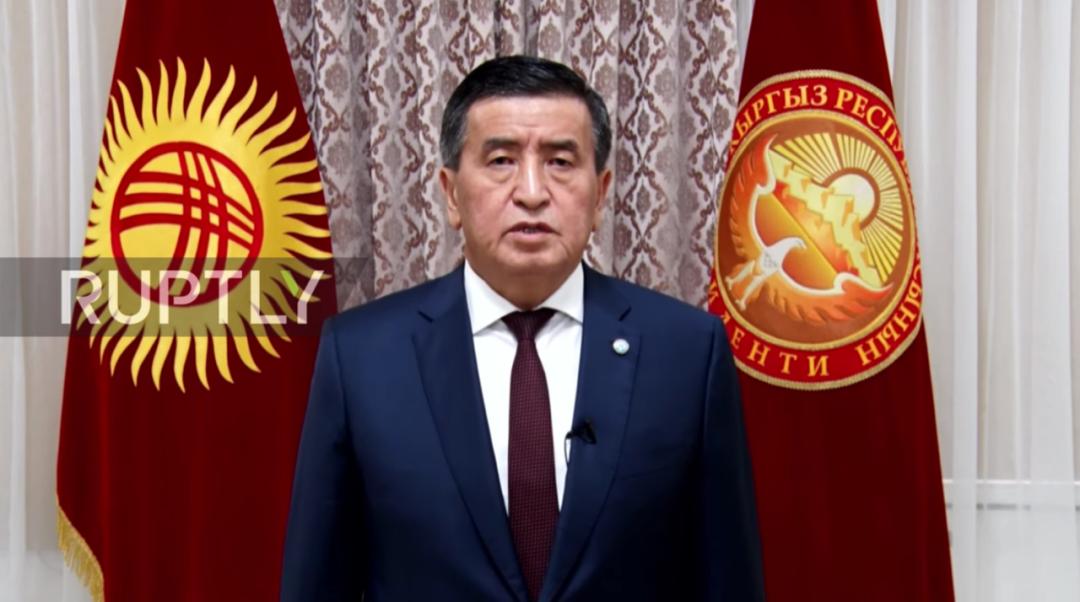 吉尔吉斯斯坦总统热恩别科夫。图/视频截图