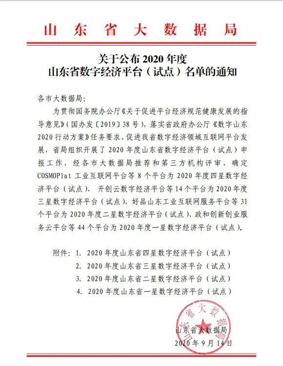 再传喜讯!卓创资讯获评山东省四星数字经济平台