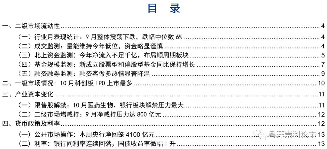 粤开策略流动性专题 | 9月量能持续低迷,北上布局顺周期板块