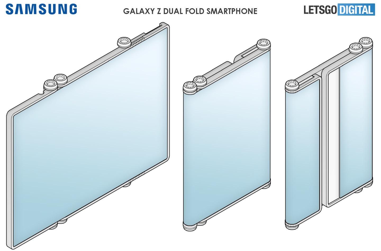 三星 Galaxy Z 双折智能手机专利公布:可伸缩设计