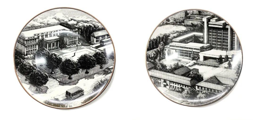 ▲校园场景铜版画陶瓷盘