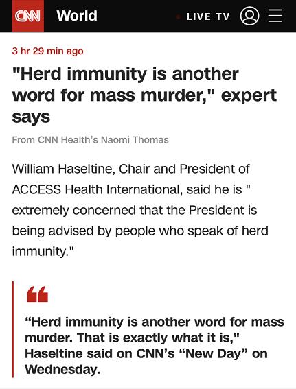 """美专家:""""群体免疫""""是屠杀的代名词"""
