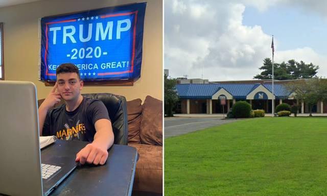 美国中学生上网课拒绝摘下特朗普横幅 被老师赶下线